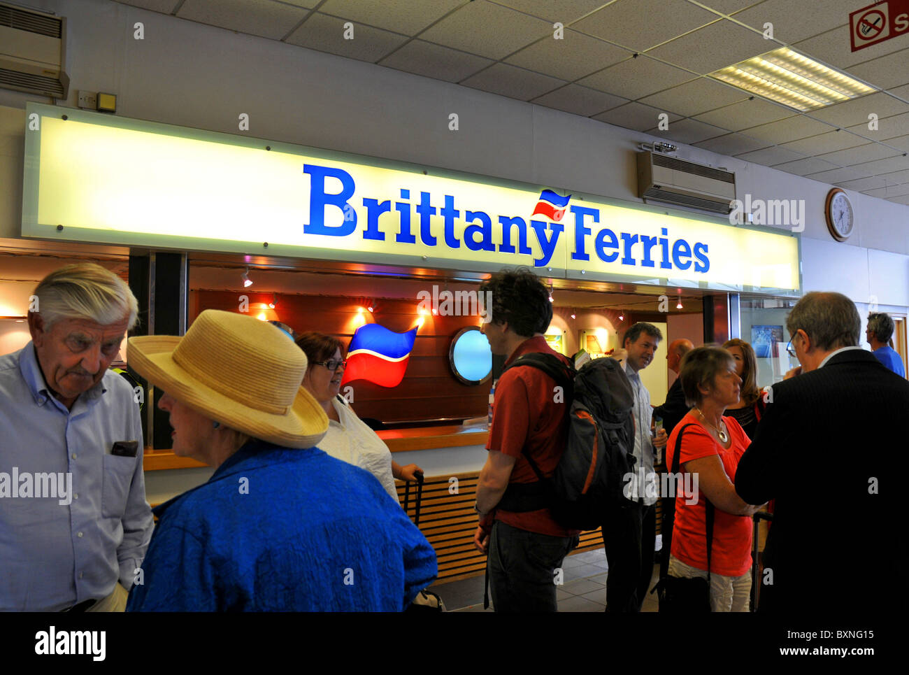 Brittany Ferries check-in, Portsmouth Ferry Terminal, Portsmouth, Hampshire, Britain, UK - Stock Image