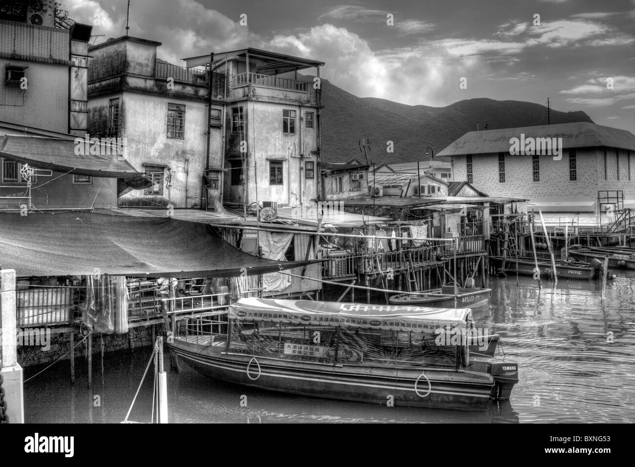 Tai O fishing village on Lantau island, another amazing place to see and smell. Everything in the sea is for sale - Stock Image