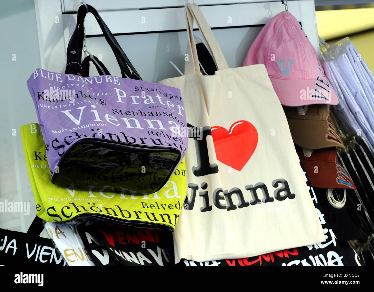 I Love Vienna bags, Vienna, Austria - Stock Image