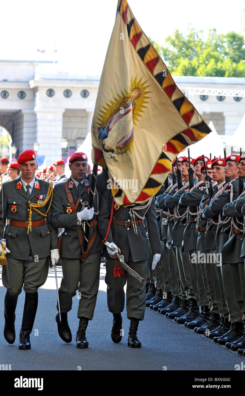 Austrian soldiers parading, Austria, Europe - Stock Image