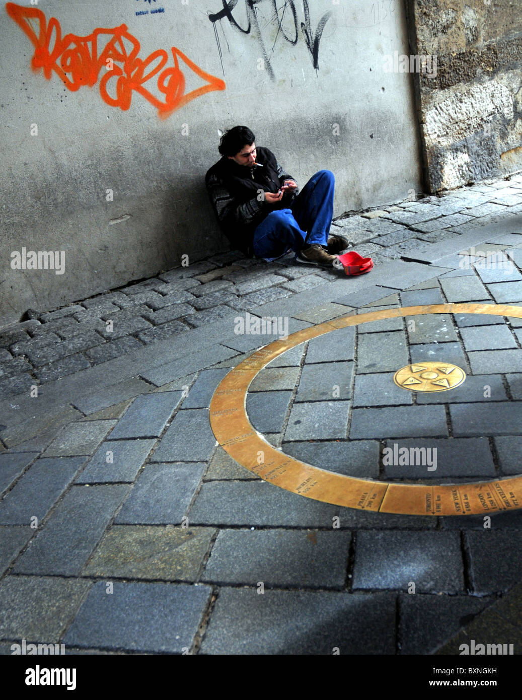 Man begging in the old city area, Bratislava, Slovakia, Europe - Stock Image