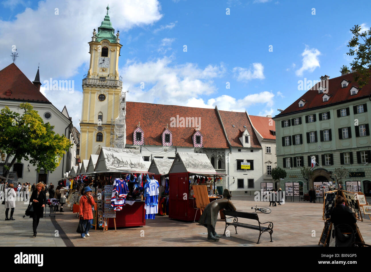 Main Square, Hlavni namesti, Bratislava old town, Slovakia, Europe - Stock Image