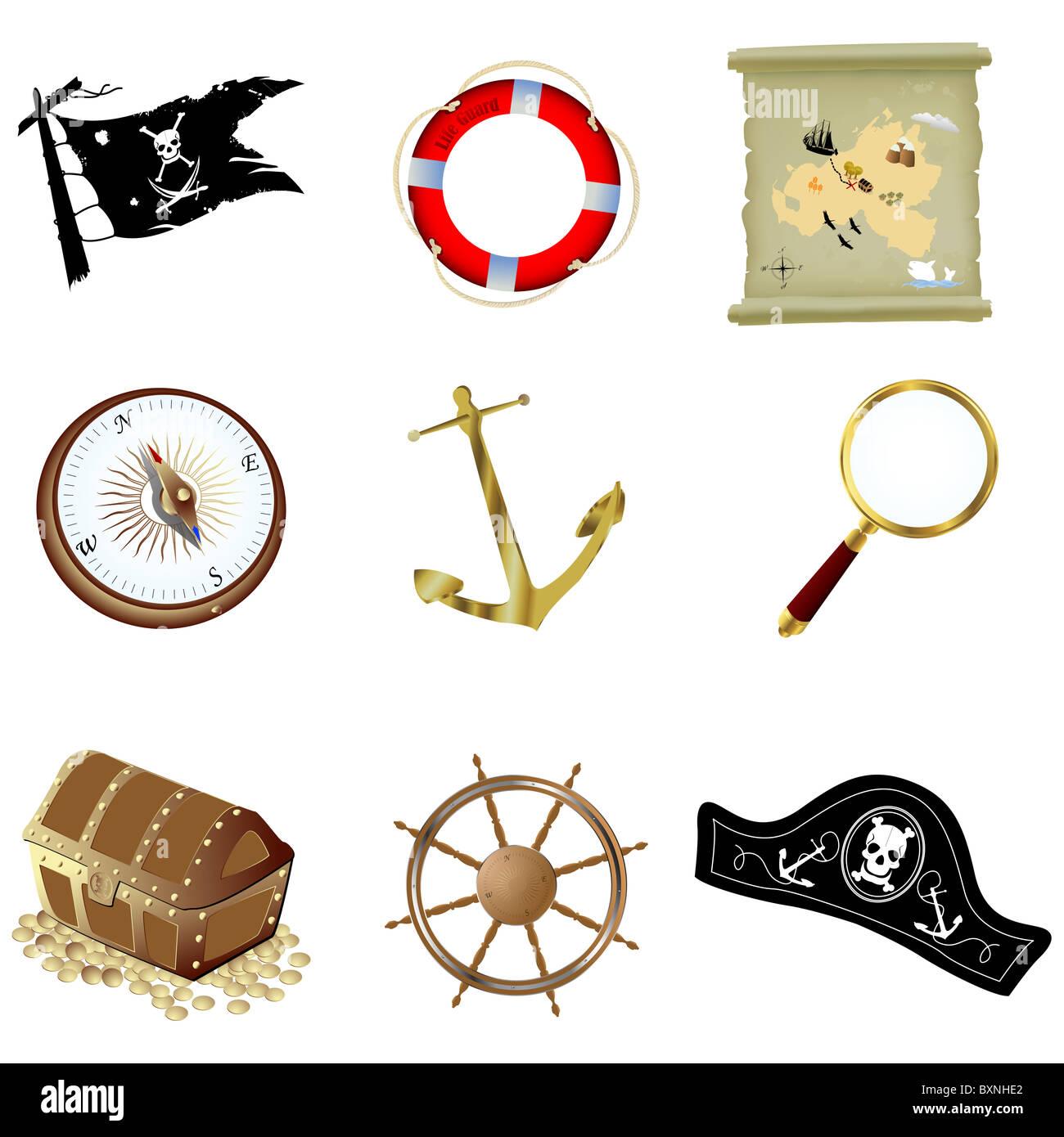 Nautical icons - Stock Image