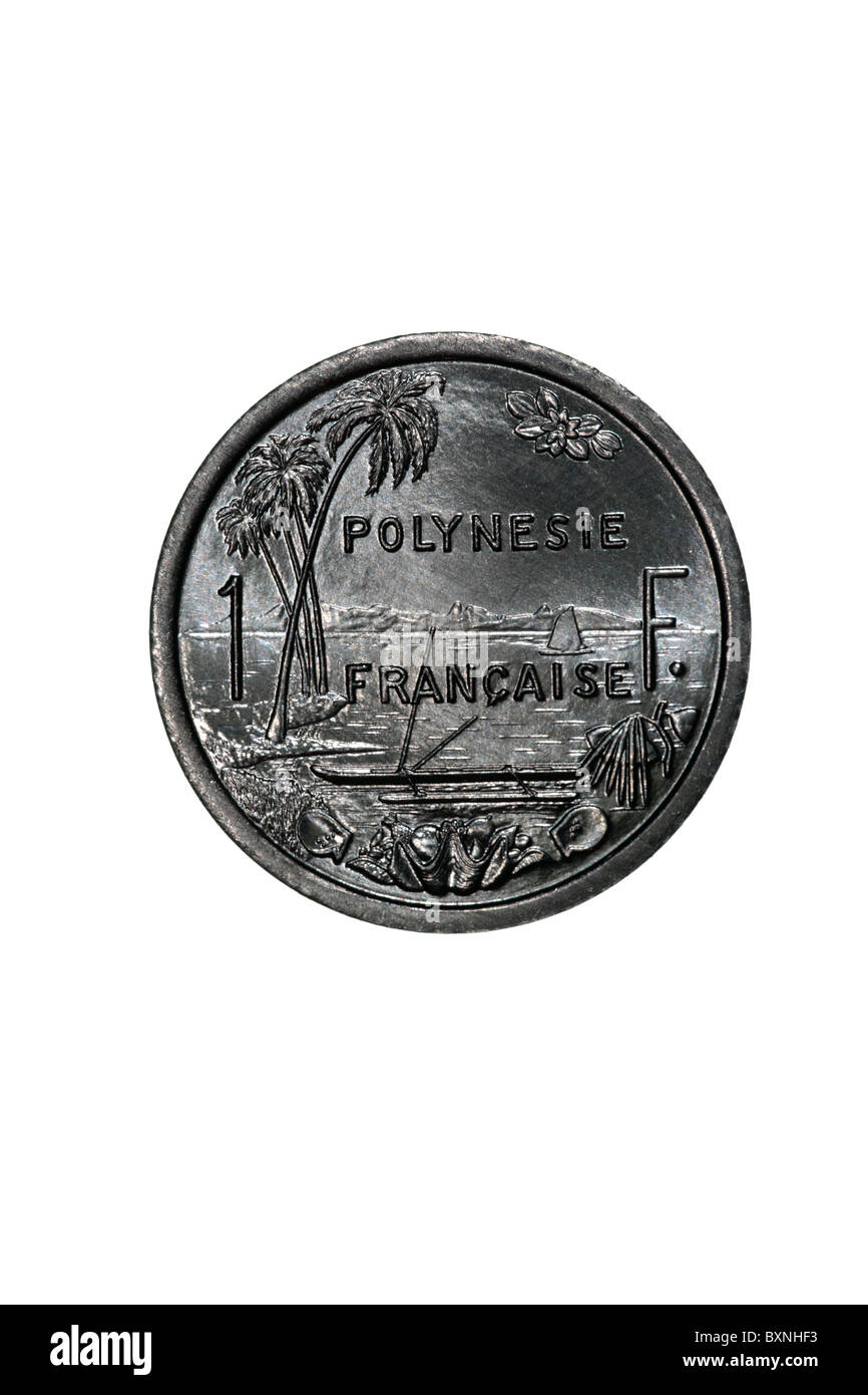 French Polynesia - 1 Franc coin - Stock Image