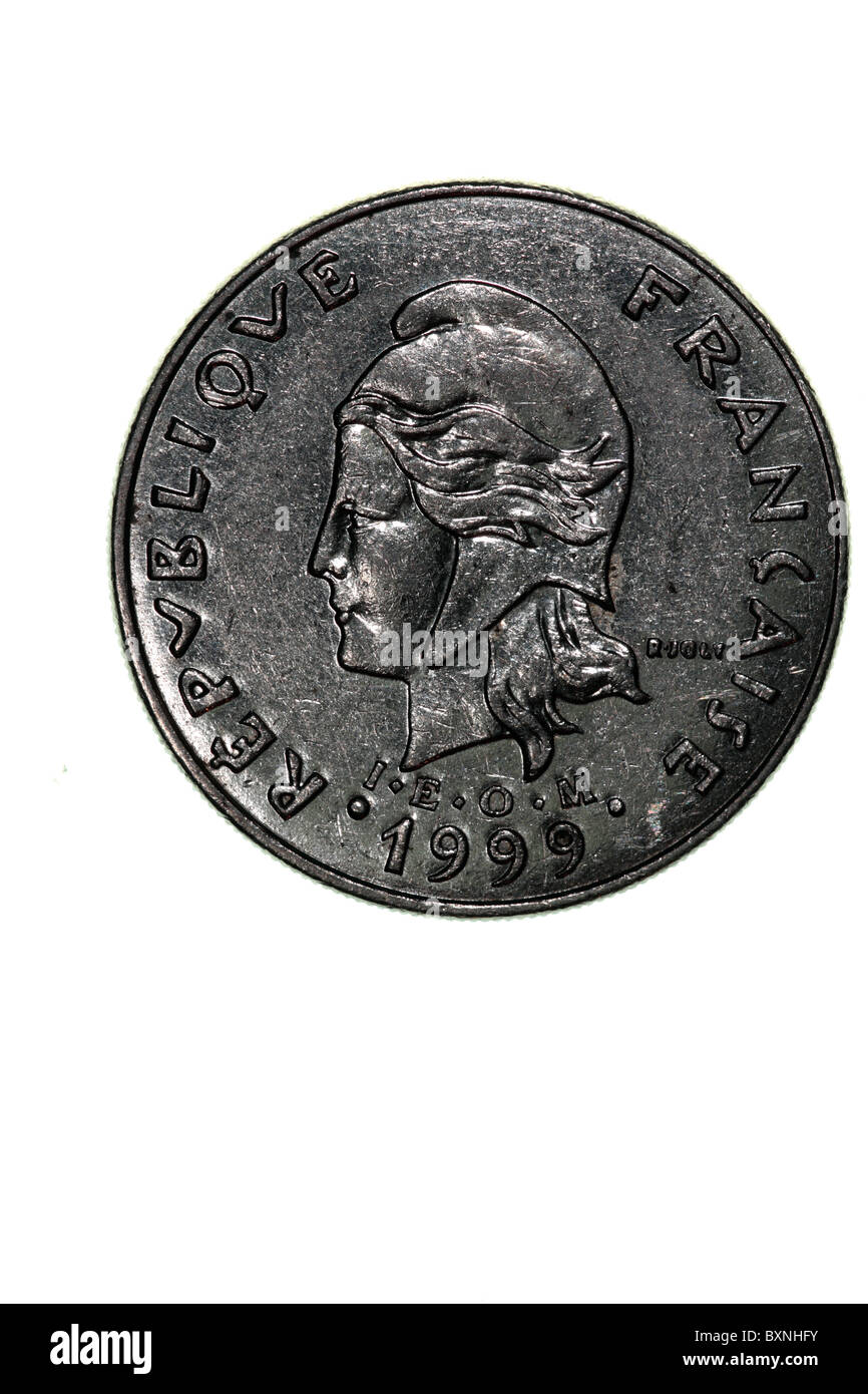 French Polynesia - coin - 20 Francs - Stock Image