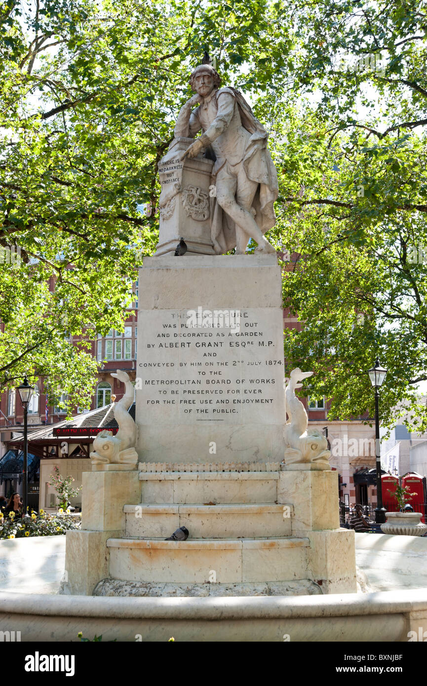 Statue of Shakespeare in Leicester Square, London, England, Britain, UK - Stock Image
