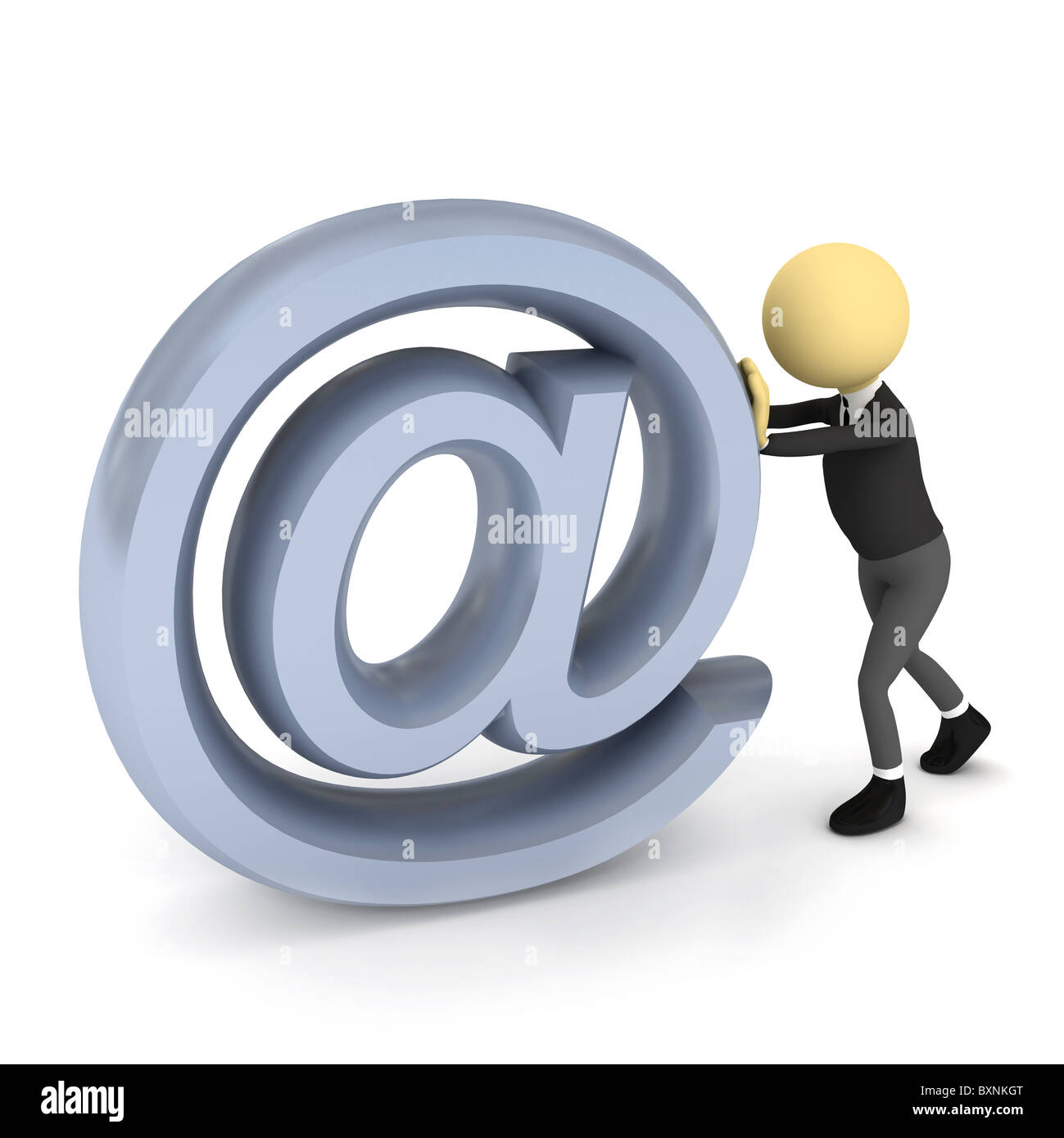 3d person with e-mail sign over white. 3d render - Stock Image