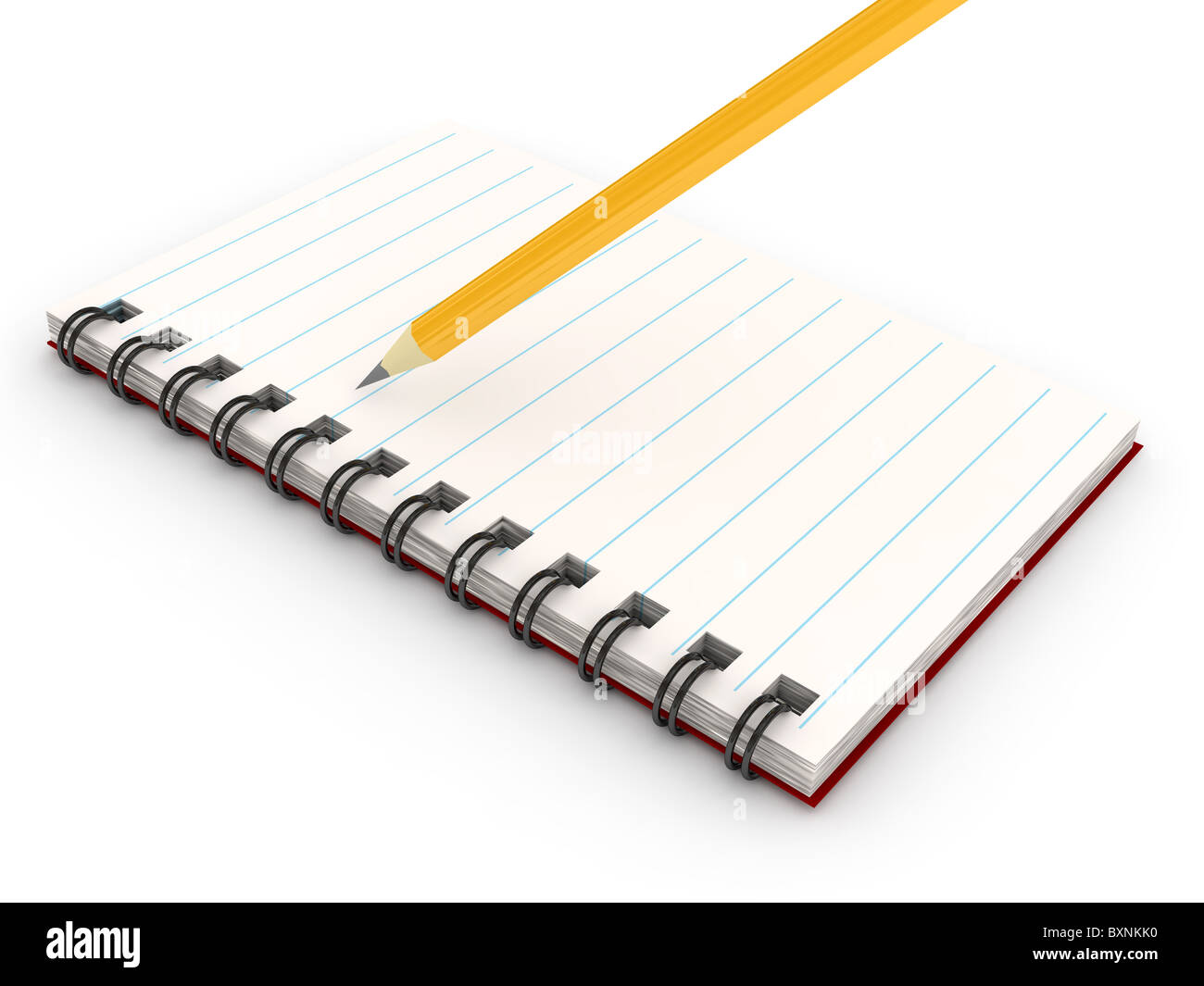 Notebook over white background - Stock Image