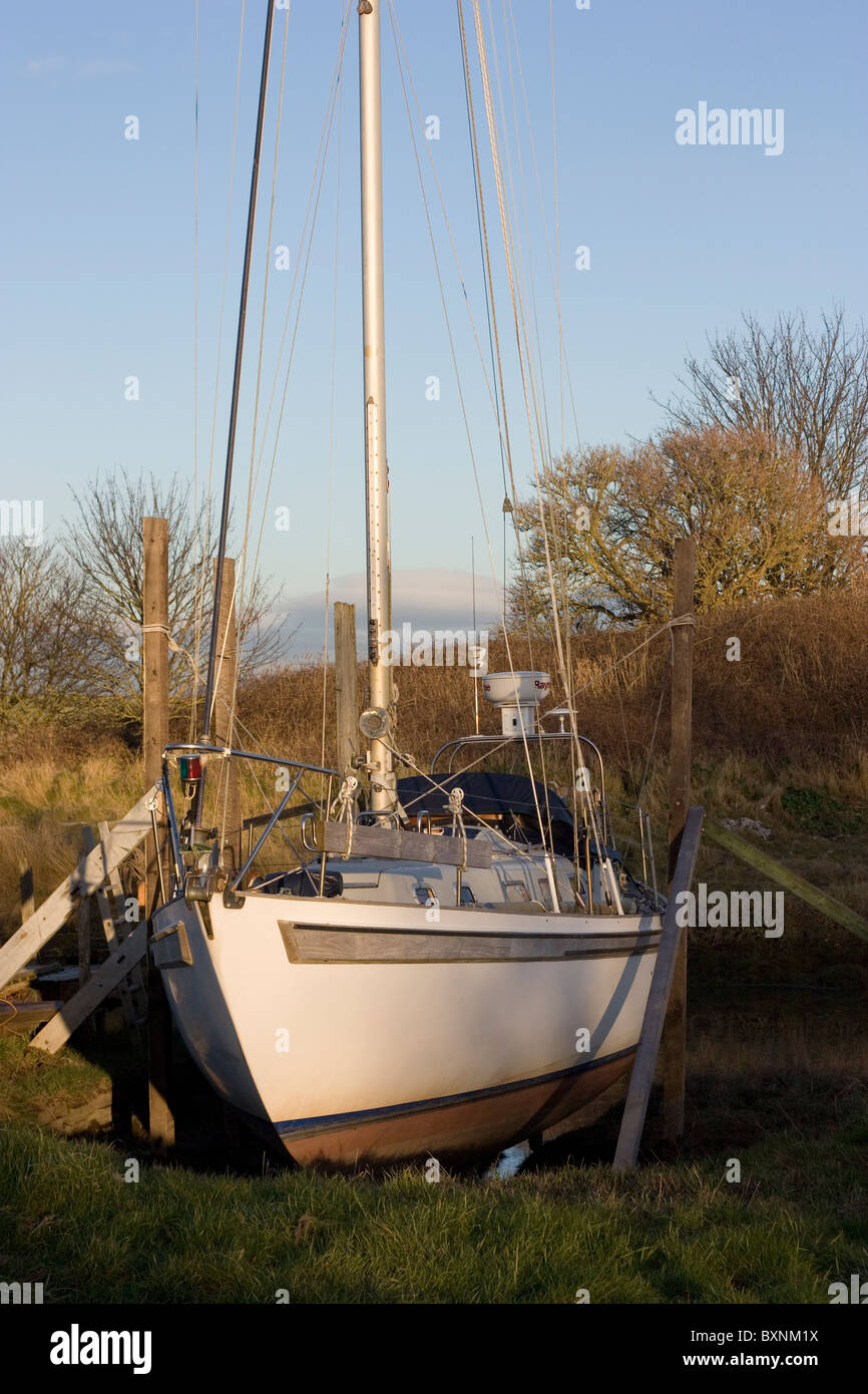 Yacht laid up in winter berth - Stock Image