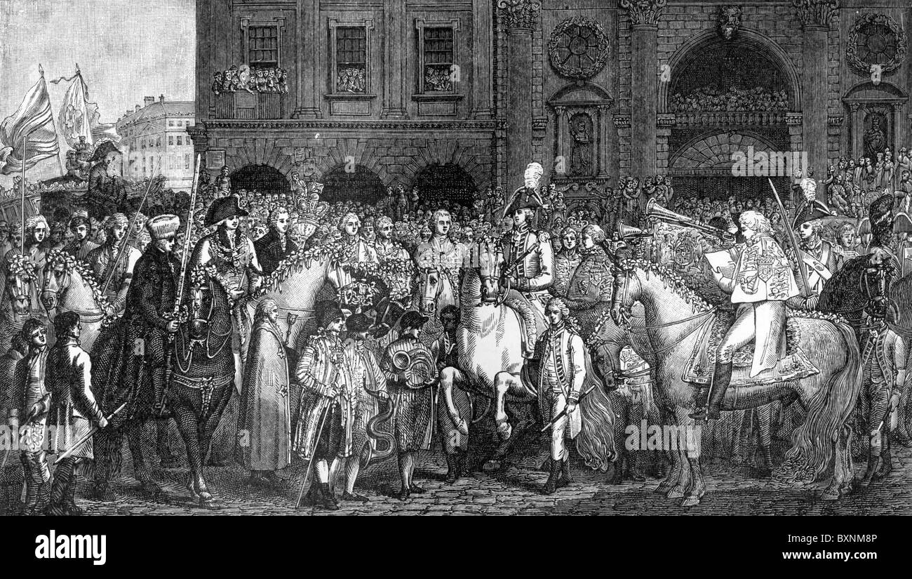 The Proclamation of the Peace of Amiens at the Royal Exchange, London, 1802; Black and White Illustration; - Stock Image