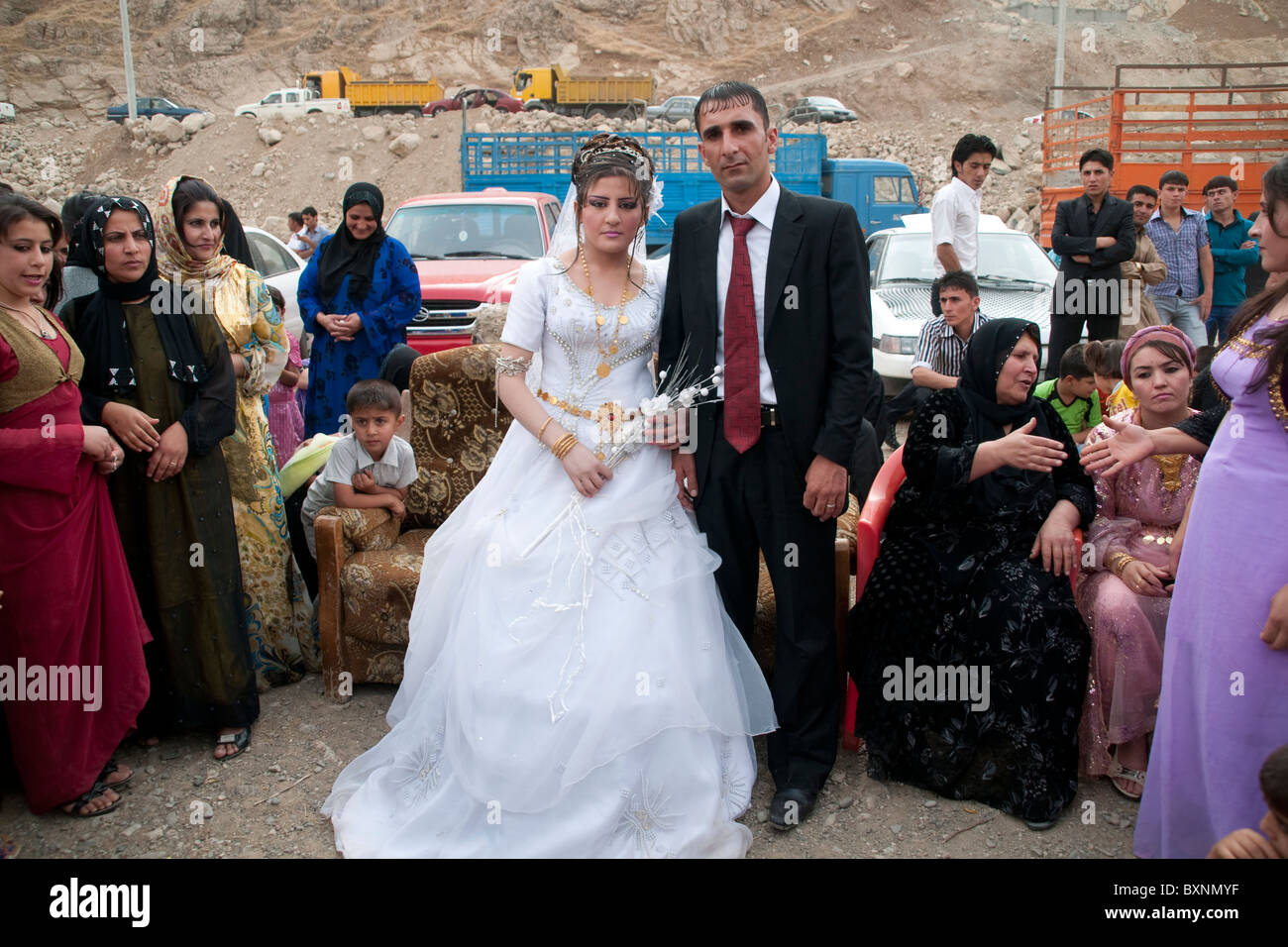 A roadside Kurdish wedding in the mountains of Northern Iraq near the town of Rowanduz and the Iranian border. - Stock Image