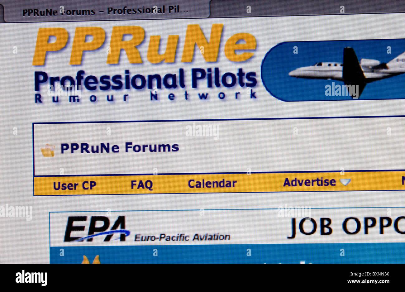 Screenshot of Professional Pilots Rumour Network - Stock Image
