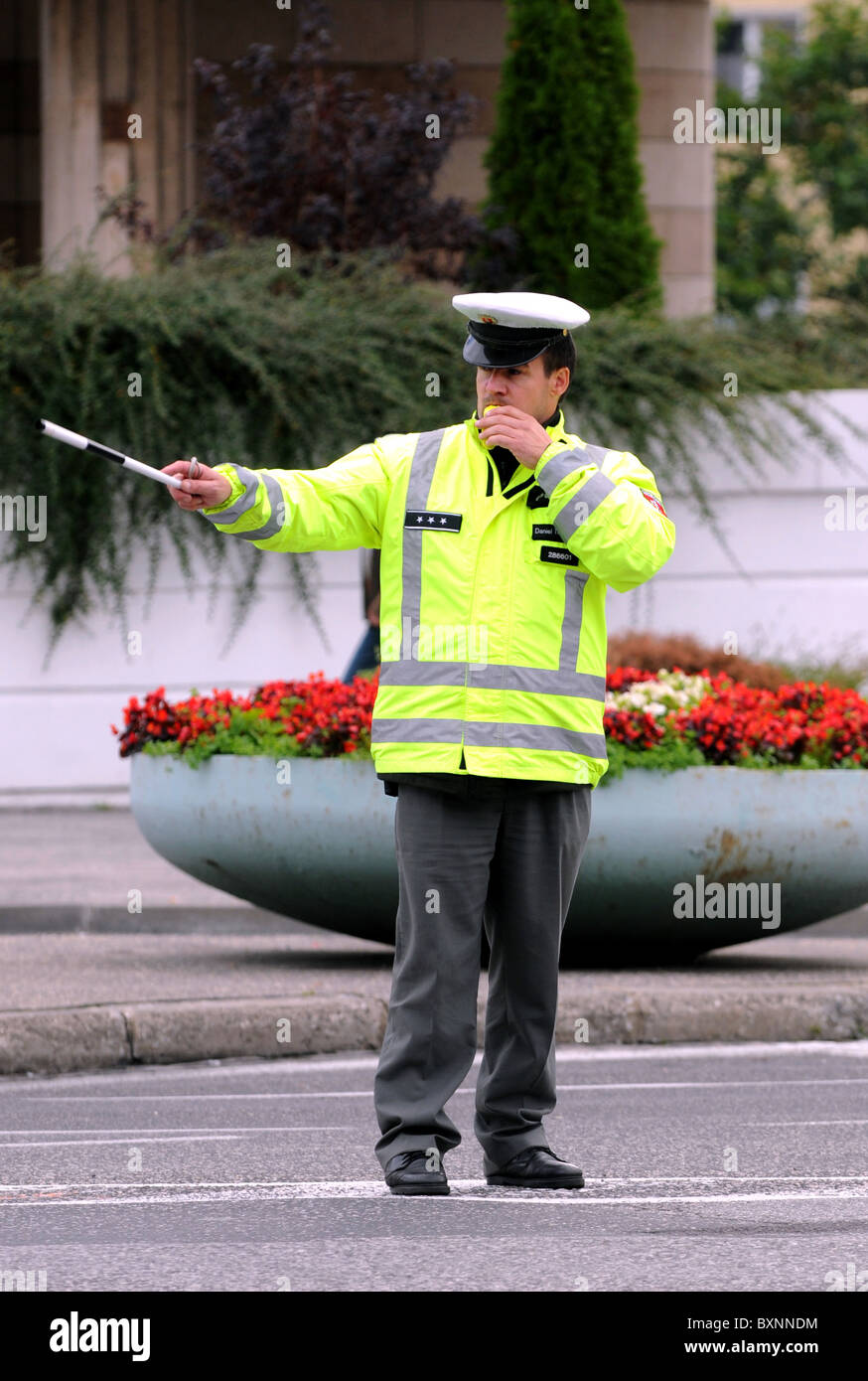 Policeman controlling traffic, Bratislava, Slovakia, Europe - Stock Image