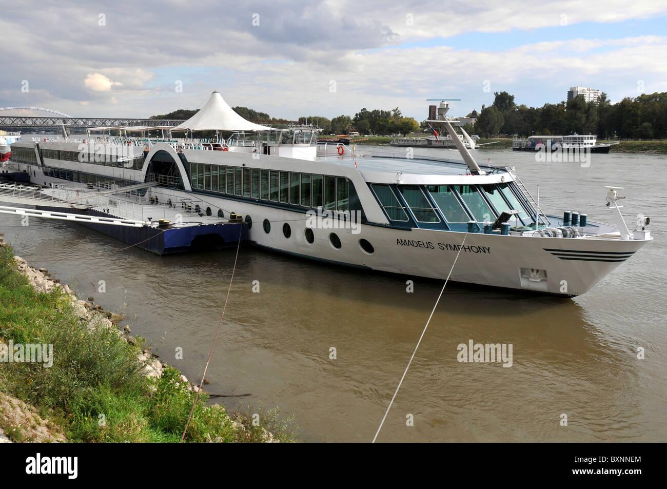 Amadeus Symphony passenger ship on the River Danube, Bratislava, Slovakia, Europe - Stock Image