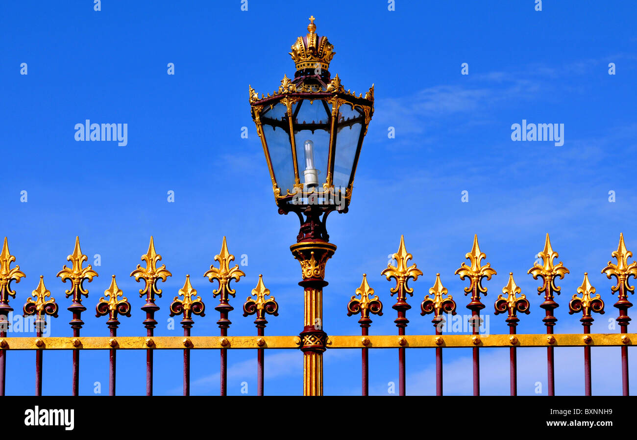 Vienna, Austria, Close up of railings and ornate lamp at the Hofburg Palace, Vienna, Austria - Stock Image