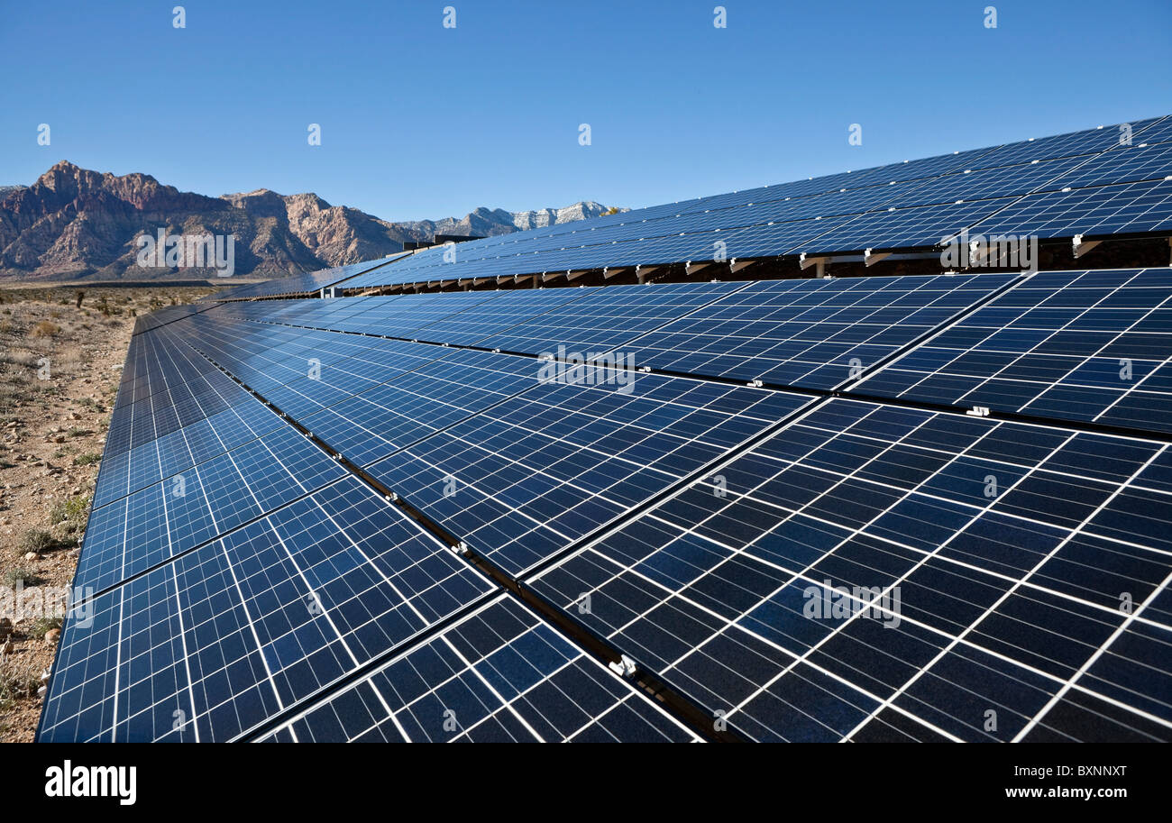 Mojave desert solar array at Red Rock Canyon National Conservation Area. - Stock Image