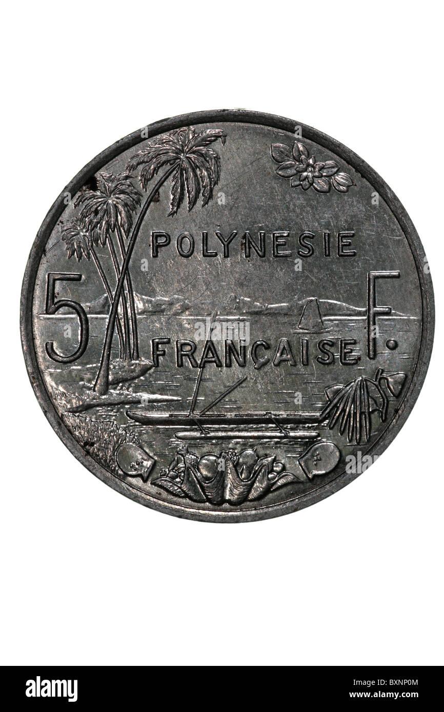 French Polynesia - 5 Franc coin - Stock Image