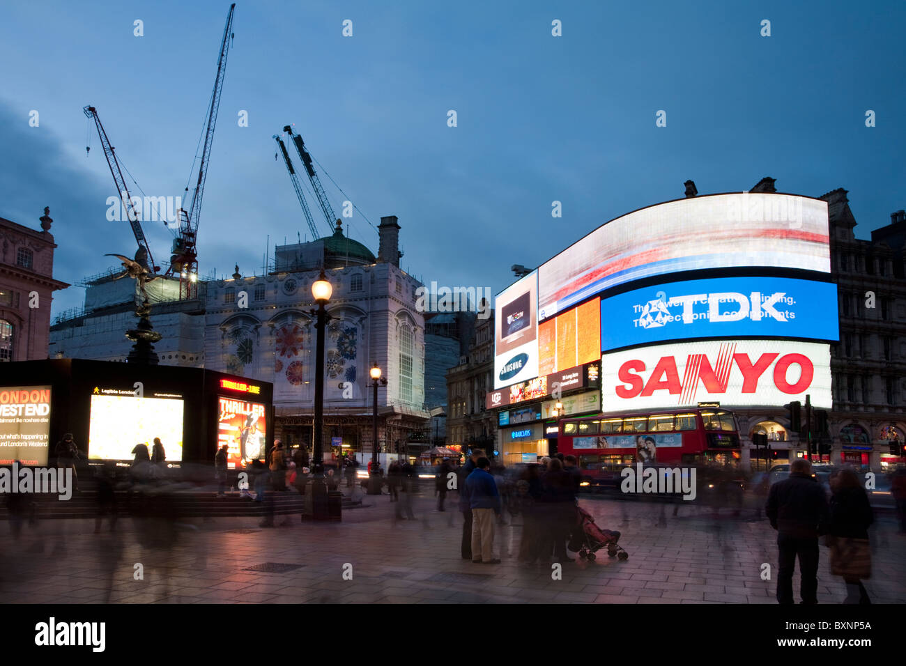 Piccadilly Circus at dusk, London, Uk - Stock Image