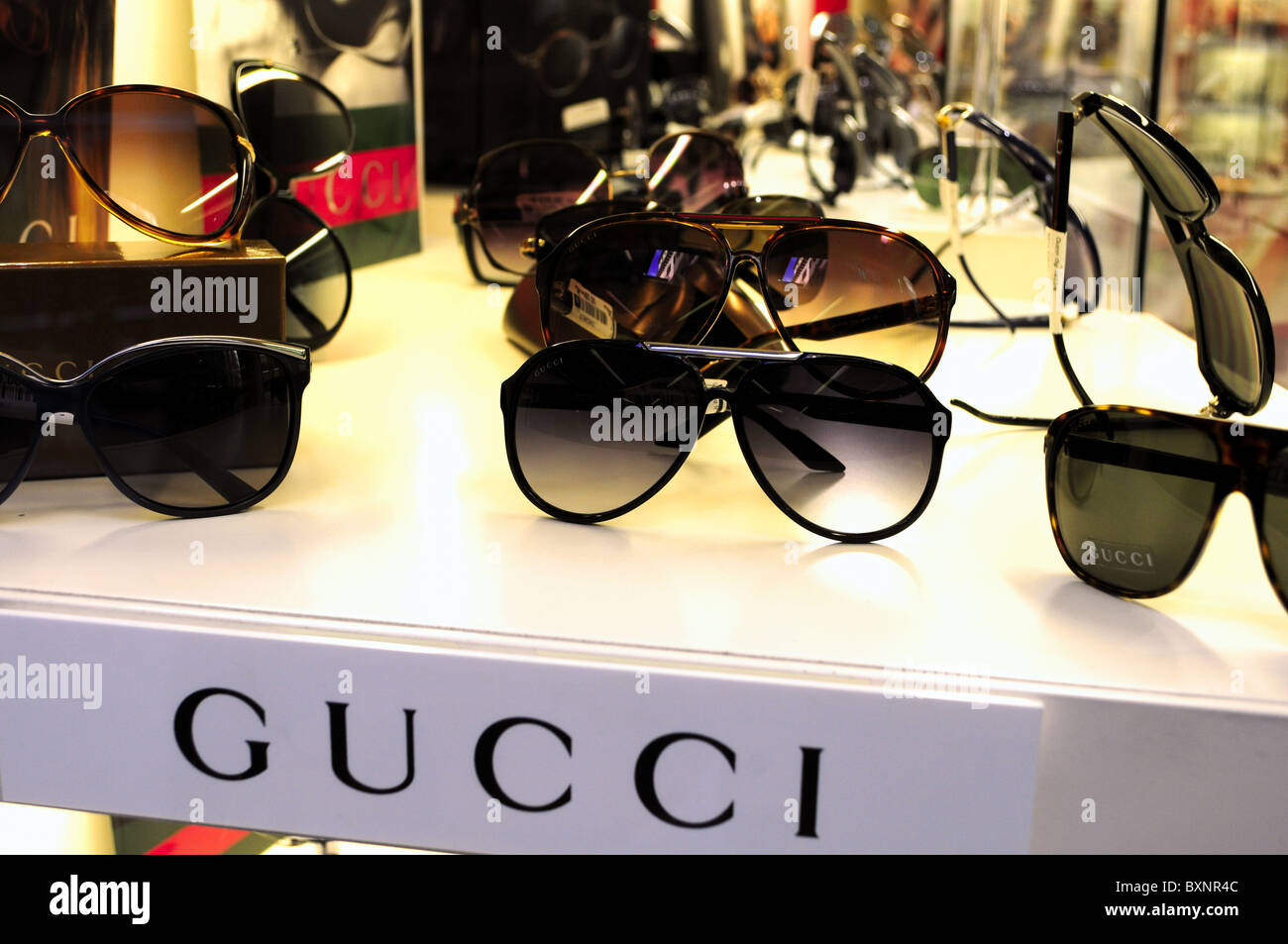 ff914566569 Gucci sunglasses in a window shop Firenze Italy Stock Photo ...
