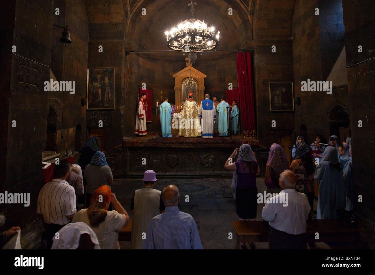 Mass at Khor Virap Monastery, Armenia Stock Photo: 33671320