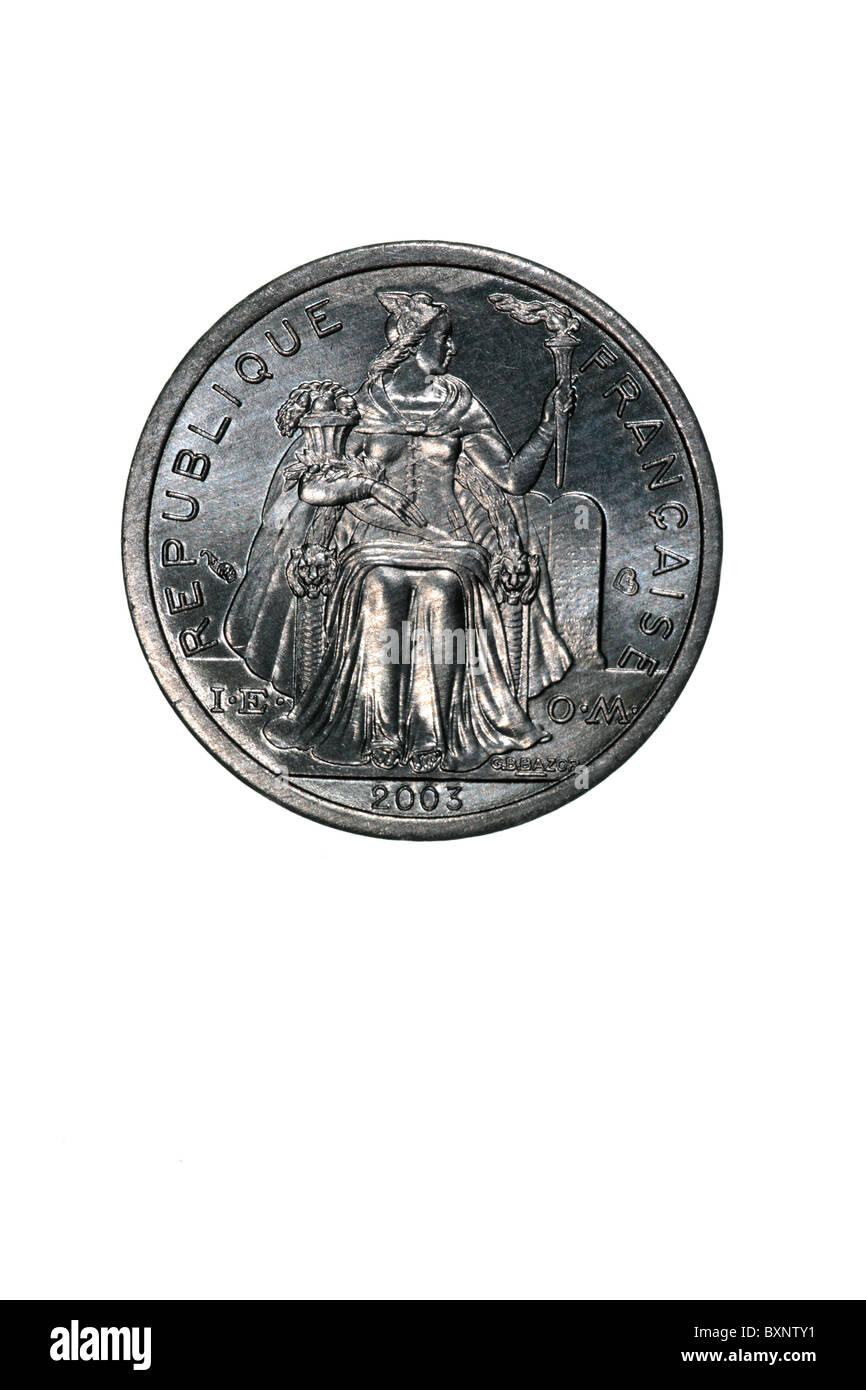 French Polynesia - 2 Franc coin - Stock Image