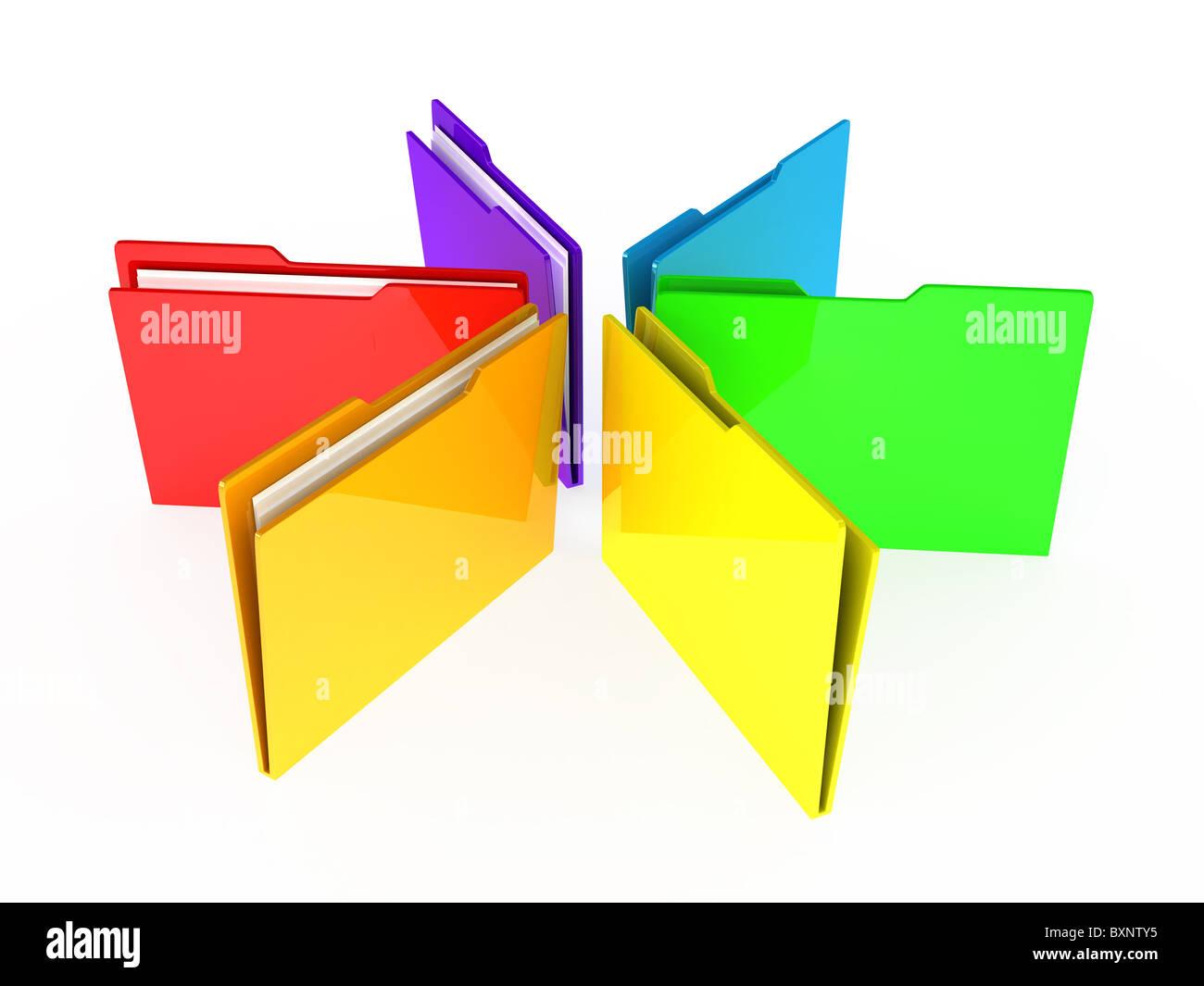 Folders on white background - Stock Image