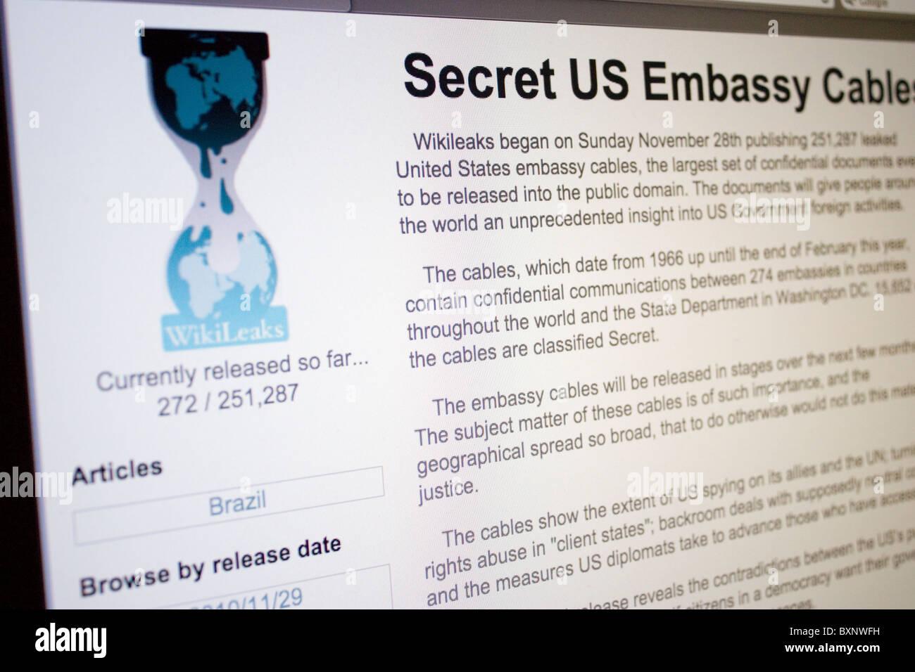 Screenshot of WikiLeaks website - Stock Image