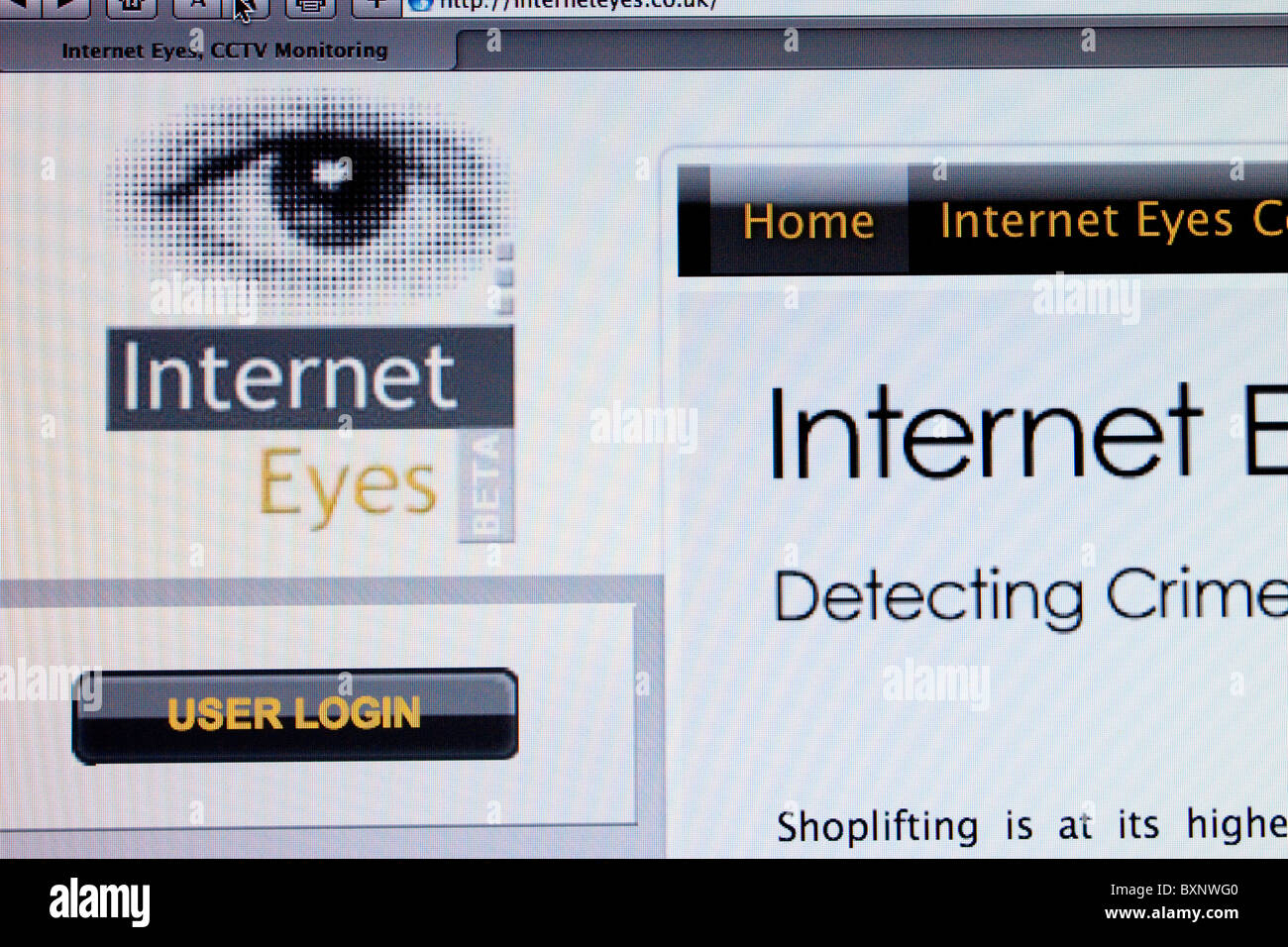 Screenshot of Internet Eyes website - Stock Image