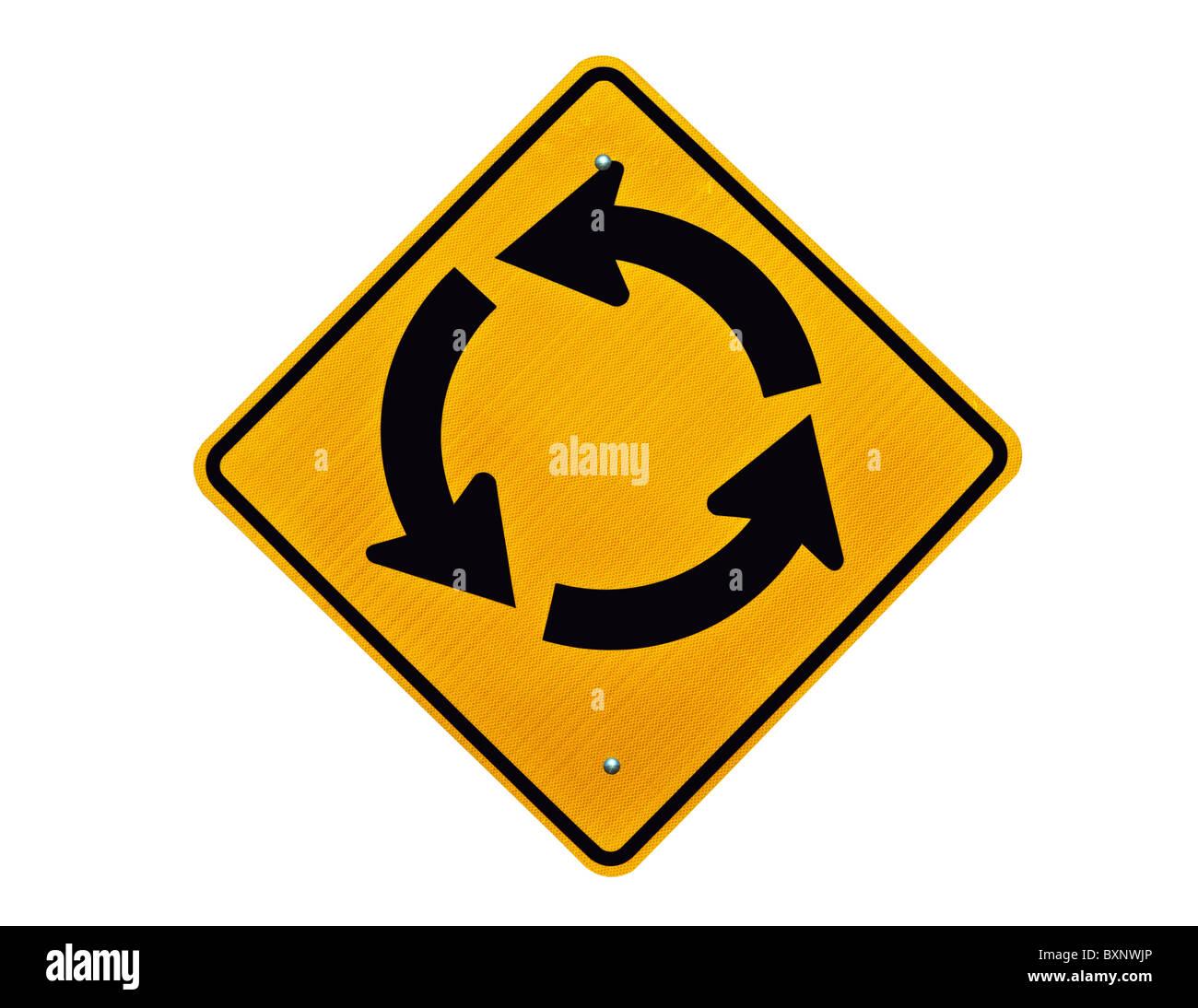 Endless traffic circle loop caution sign. - Stock Image