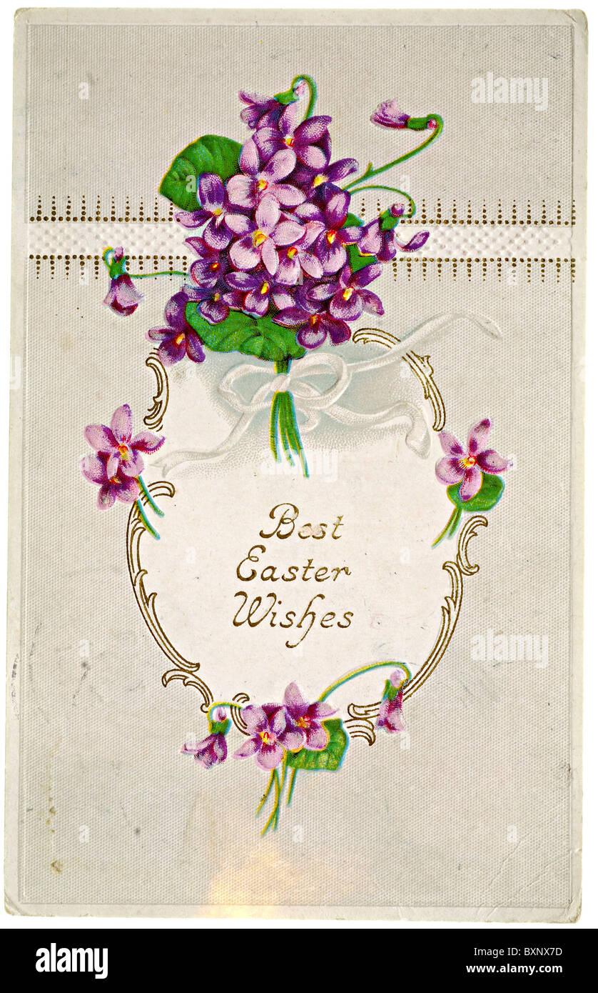 Vintage Easter postcard with violets - Stock Image