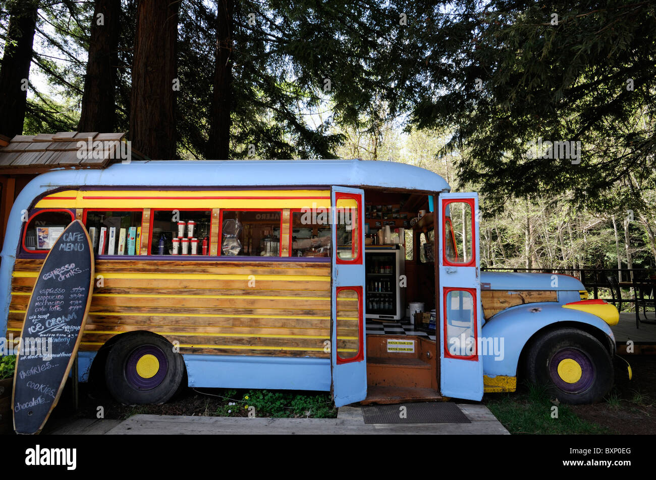 7bfc7640c98a Old antique bus converted to a coffee shop cafe bar at the River Inn Big  Sur pacific highway one 1 California surf culture