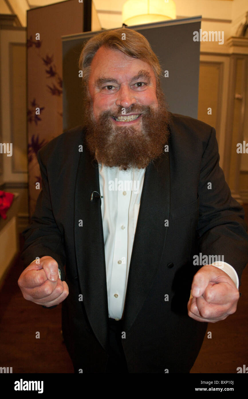 Actor Brian Blessed looking determined, before appearing as an after-dinner guest speaker. - Stock Image