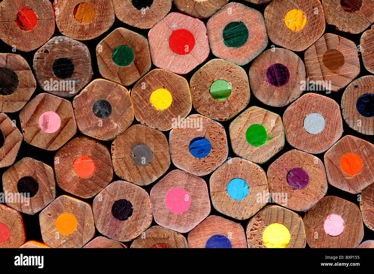 Coloured pencil ends - Stock Image
