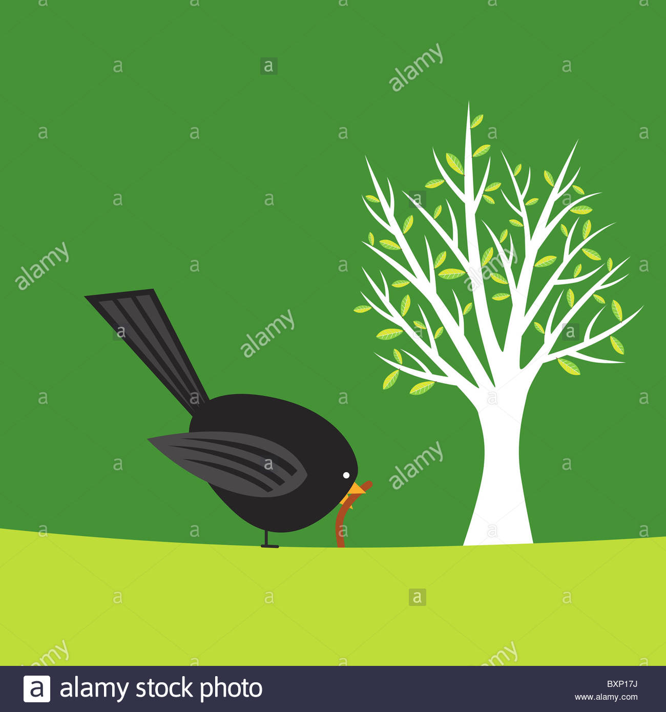 Early bird catches the worm illustration - Stock Image