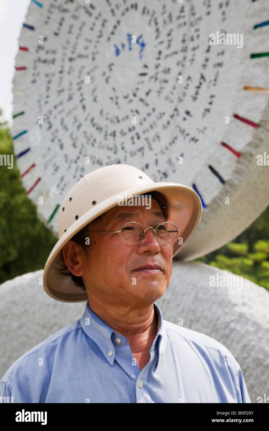 Korean sculptor Chan Kab Park in his sculpture park in Yeongwol, South Korea - Stock Image