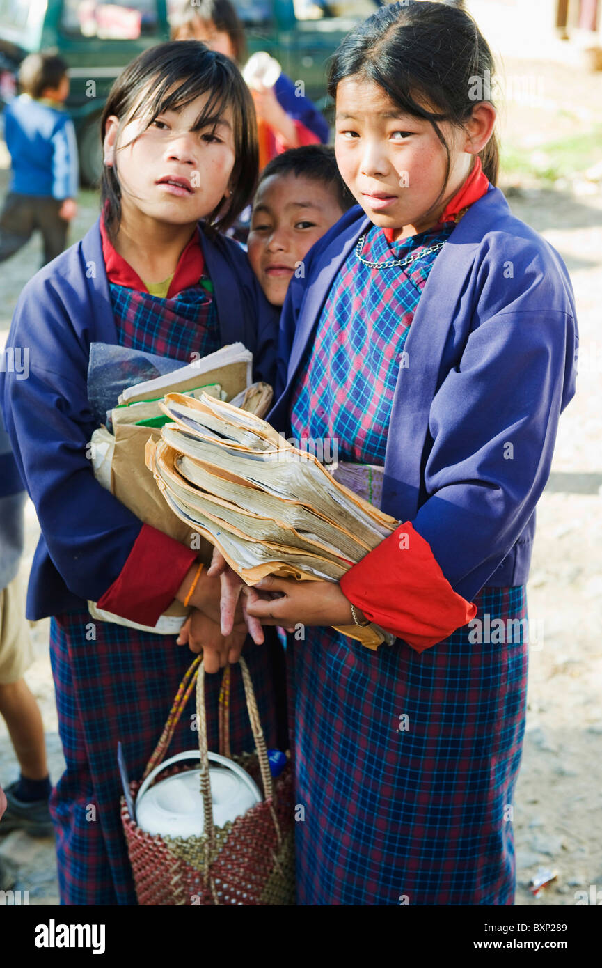 school children, Bhutan, Asia - Stock Image