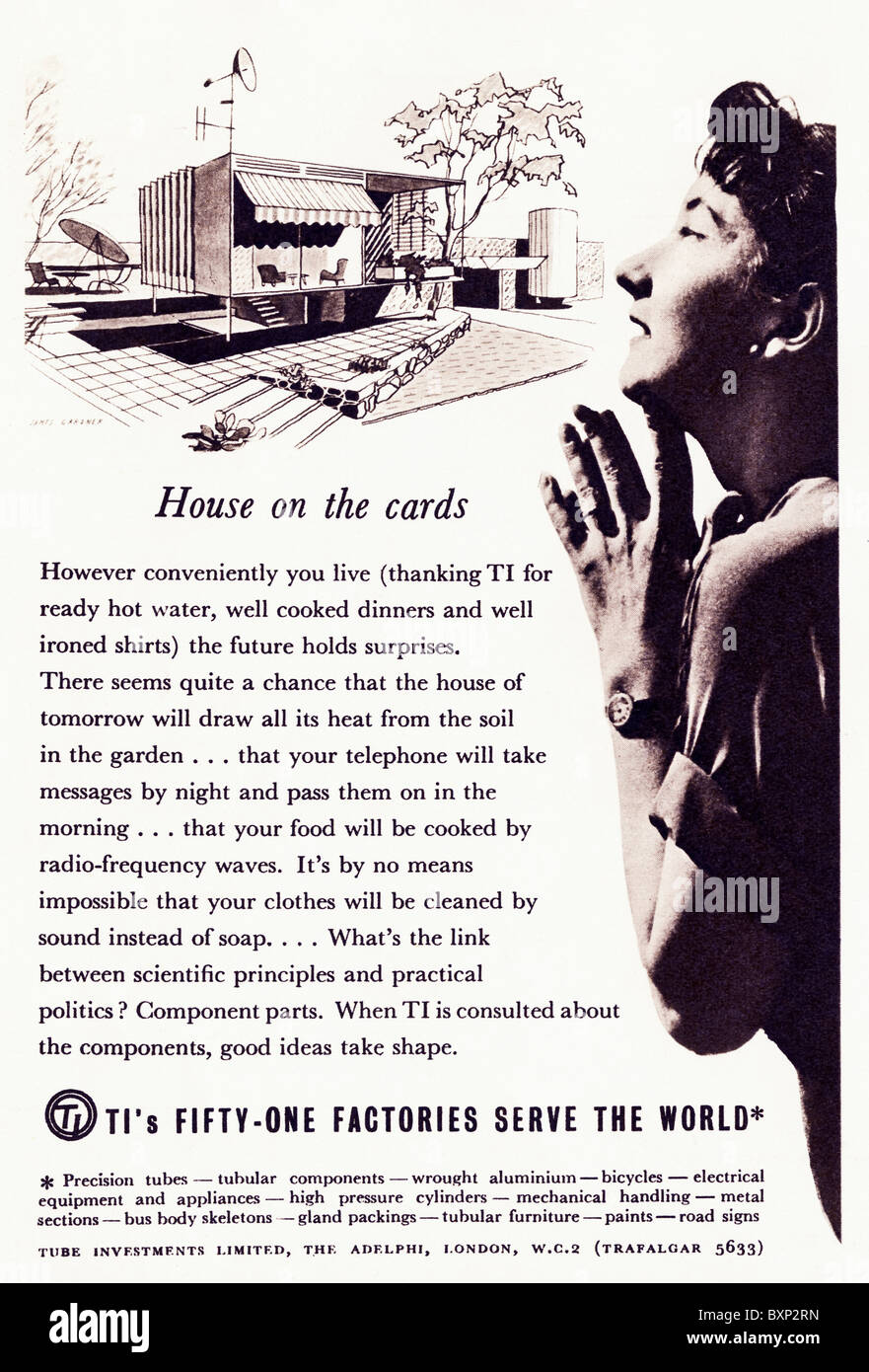 Magazine advertisement used circa 1952 for TI Tube Investments Limited - Stock Image