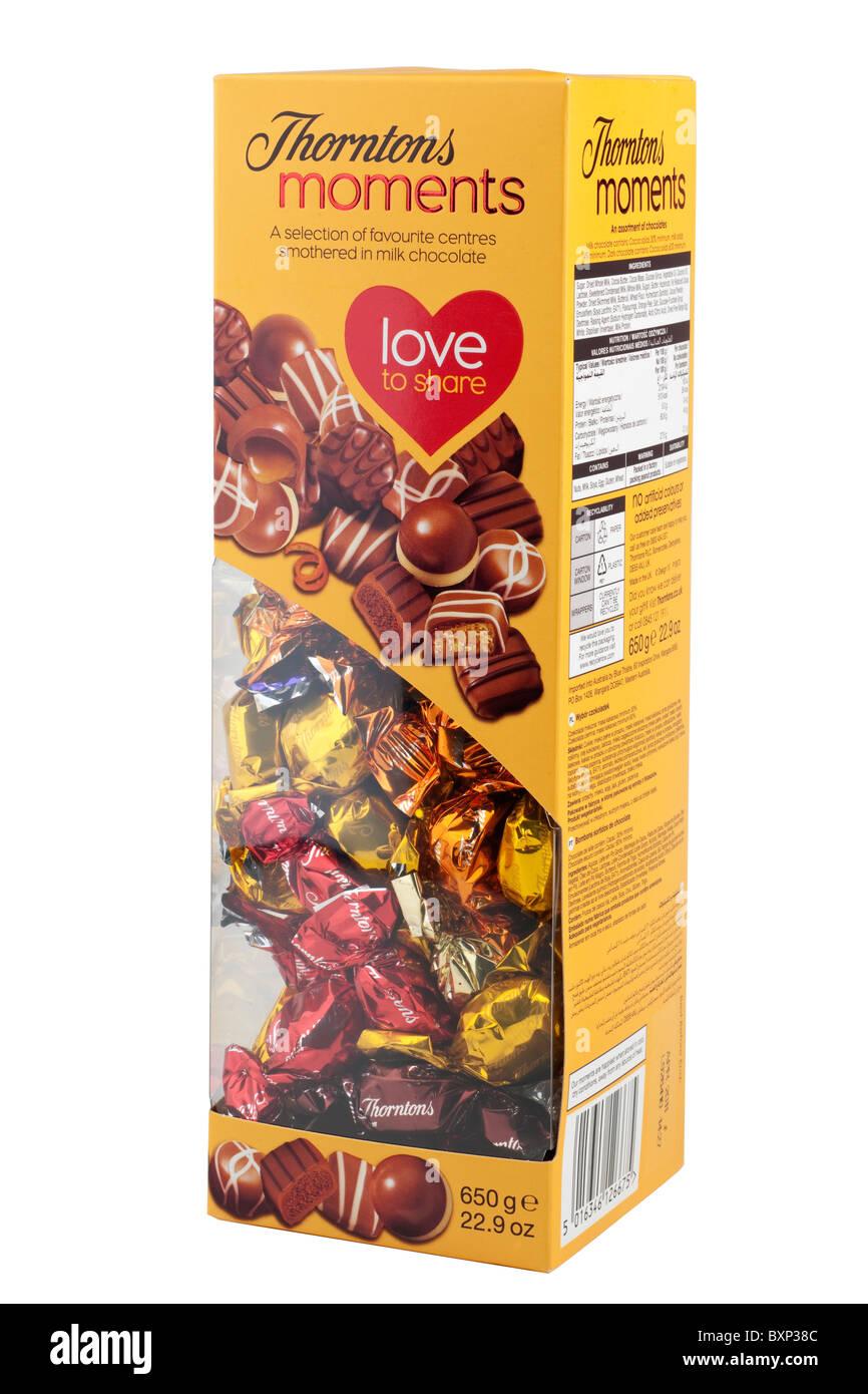 Box of Thorntons Moments chocolates - Stock Image