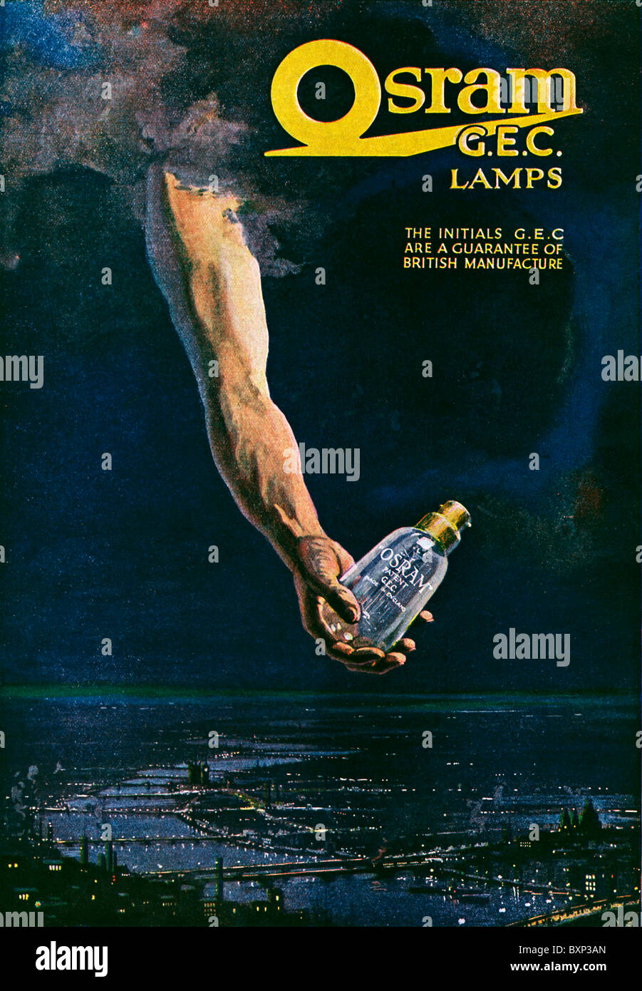 Osram GEC L&s 1919 advert for the electric light bulbs a hand from the heavens holds one over London at night  sc 1 st  Alamy & Osram GEC Lamps 1919 advert for the electric light bulbs a hand ...
