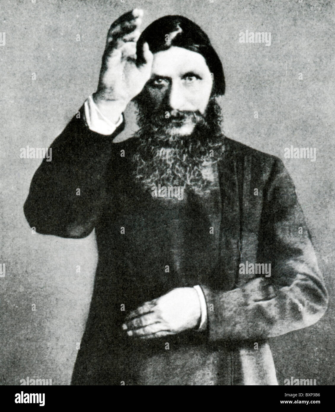 Rasputin, portrait of the religious mystic who had such an influence over the Royal Family in Tsarist Russia - Stock Image