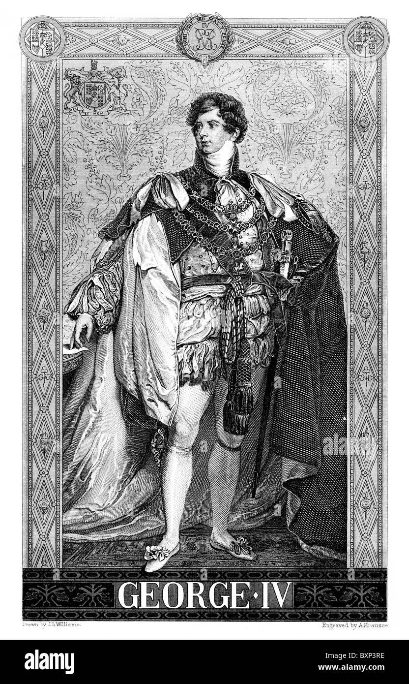 Portrait of King George IV of England; Black and White Illustration; - Stock Image