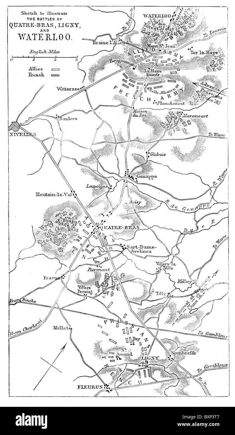 Sketch map showing the disposition of the French and Allied armies at the battles of Waterloo, Ligny and Quatre - Stock Image