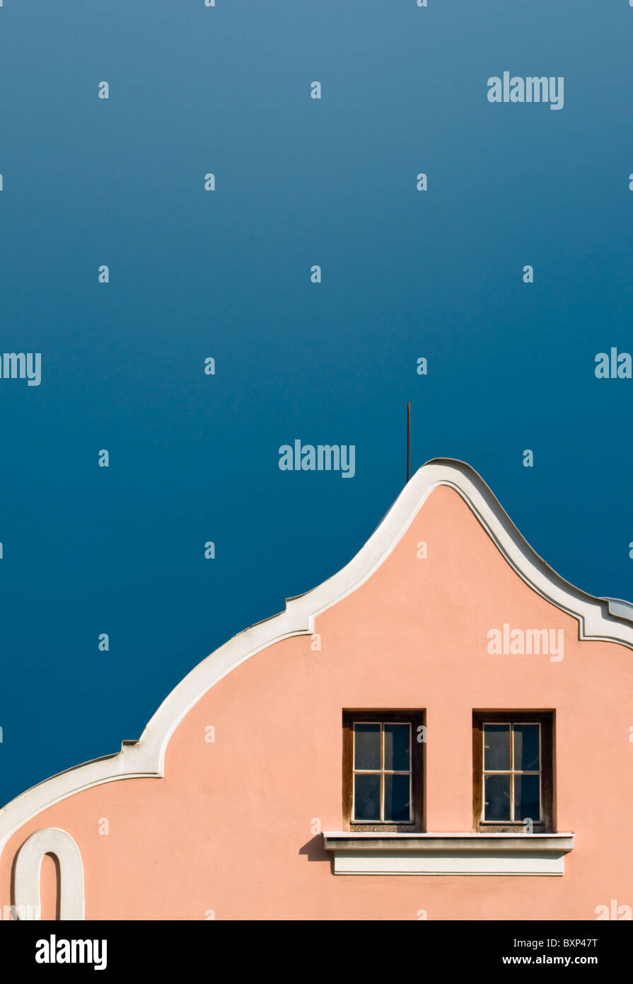 Detail of Curved Baroque House Gable in Stramberk, Moravian-Silesian Region, Czech Republic - Stock Image