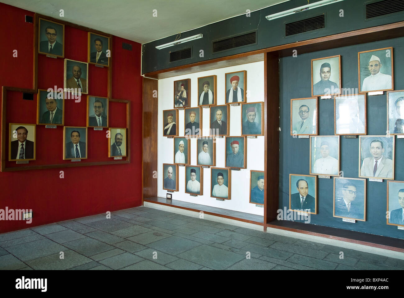 Room with portraits of millowners at The Millowners Association Building designed by Le Corbusier in Ahmedabad, - Stock Image