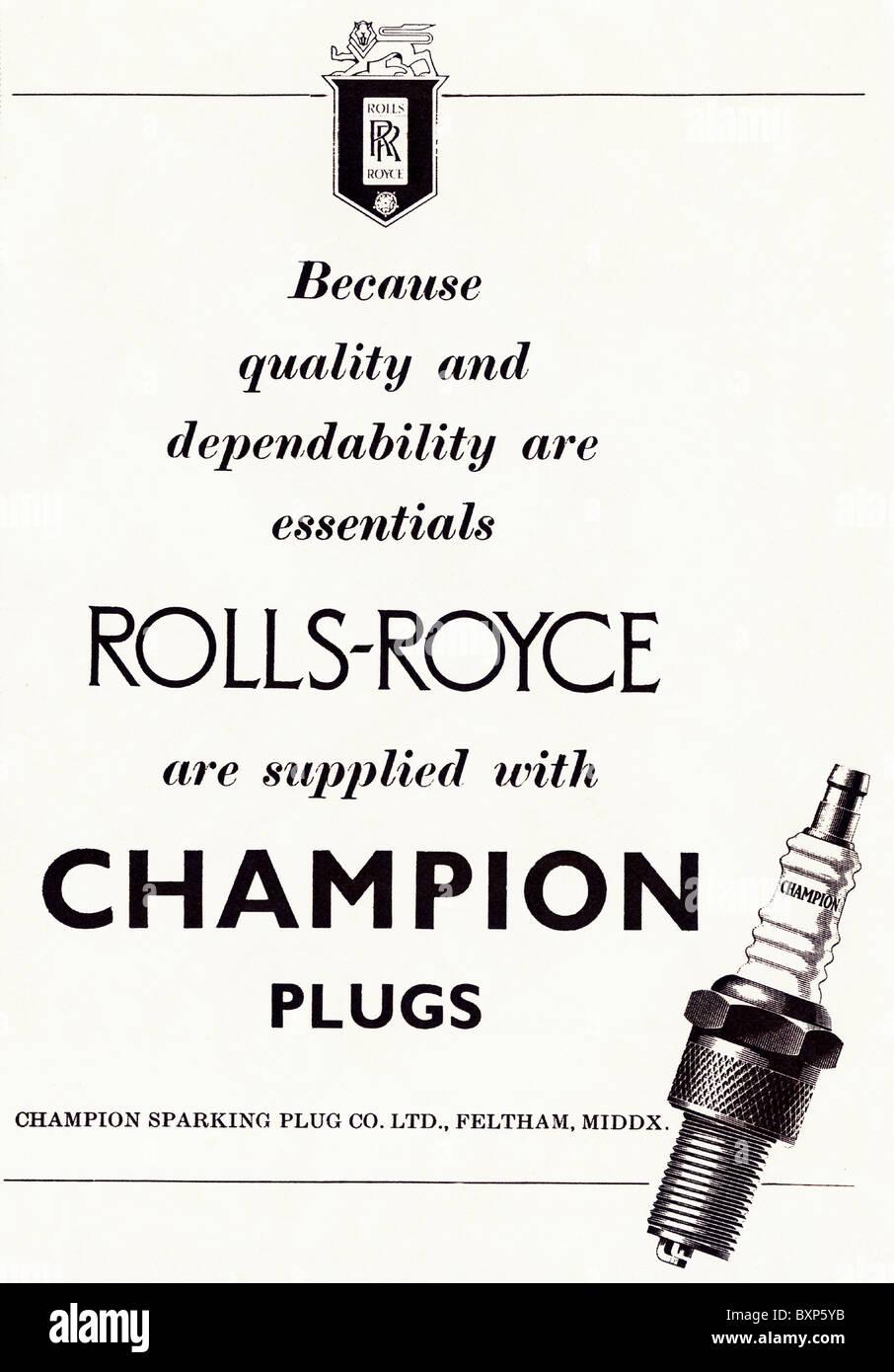Magazine advertisement used circa 1953 for Champion Sparking Plug Co Ltd - Stock Image