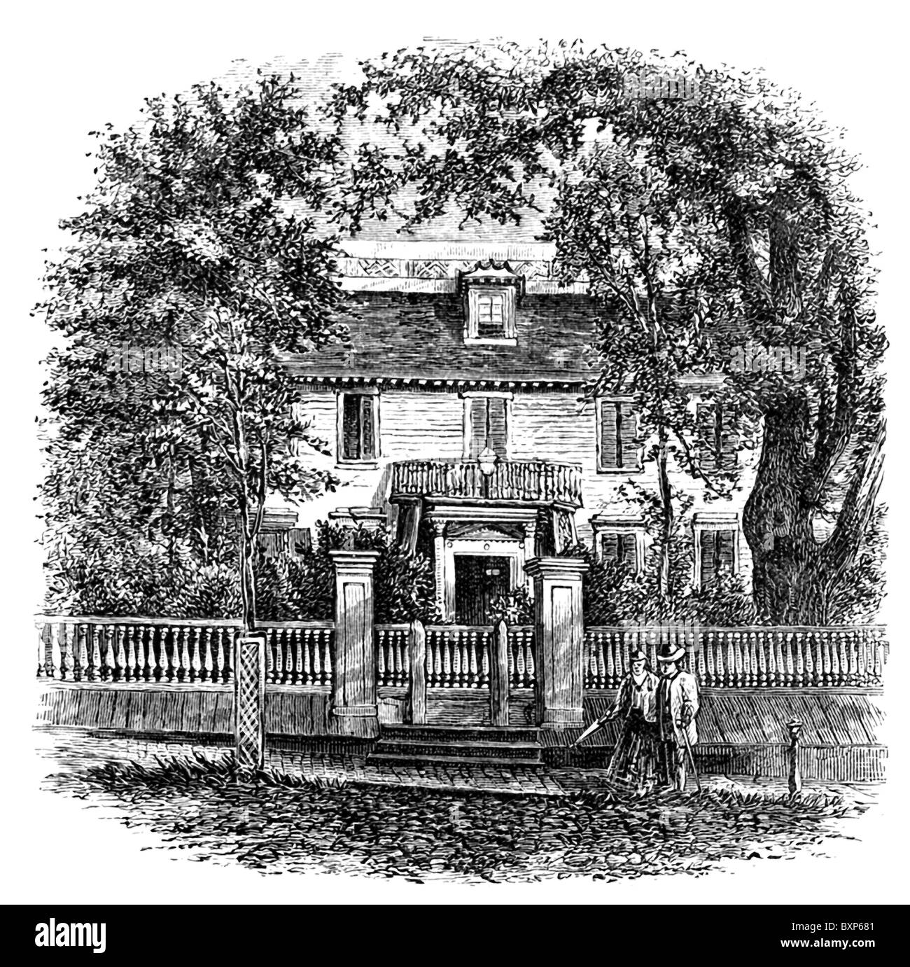 This etching shows the house of John Langdon (1741–1819), an American statesman, in Portsmouth, New Hampshire. - Stock Image