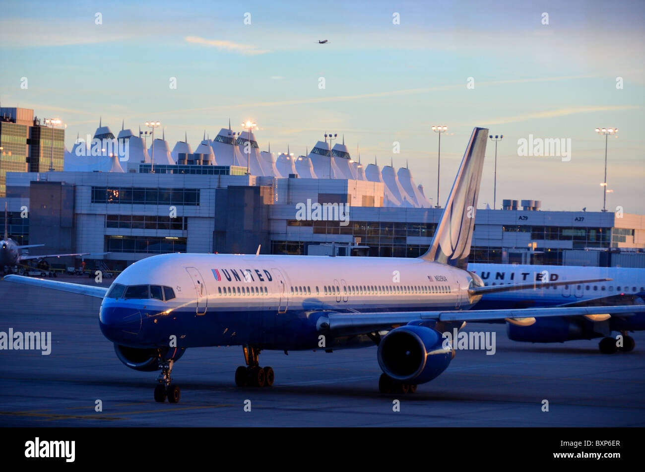 Airliners in airport tarmac. USA - Stock Image