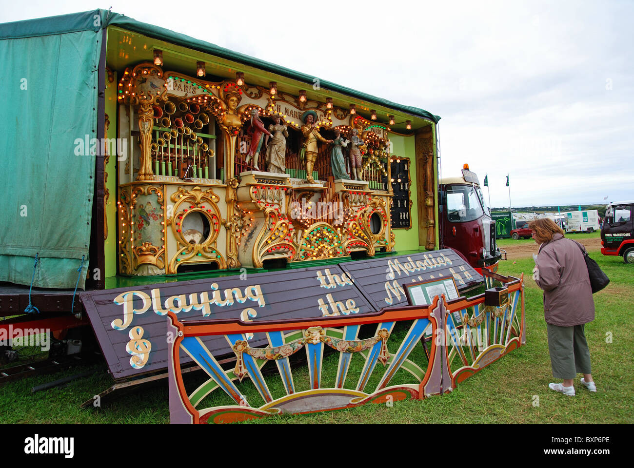 a large traveling musical organ at a country fair in wiltshire, uk - Stock Image