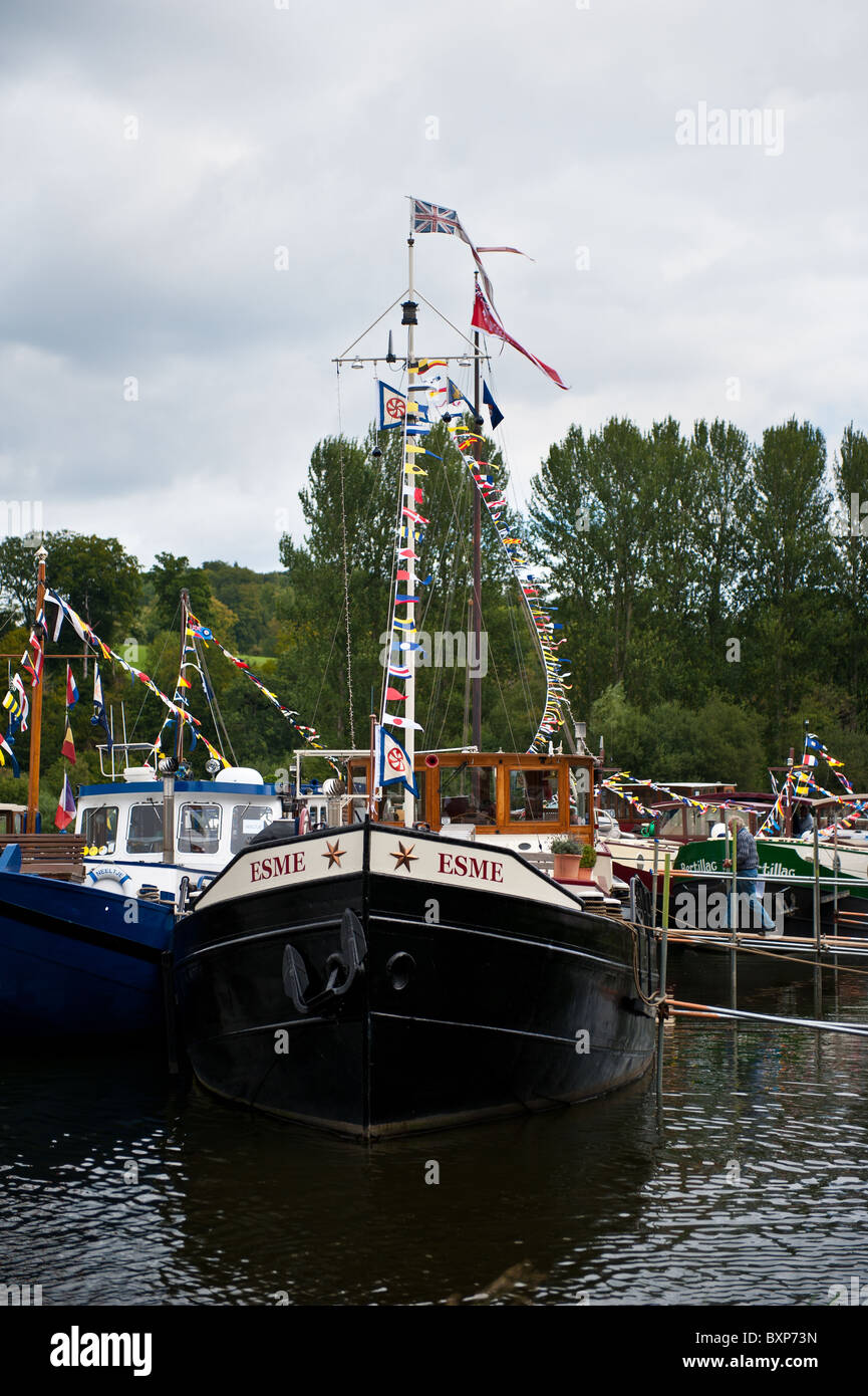 Dutch Barge moored at an Inland Waterways Festival - Stock Image