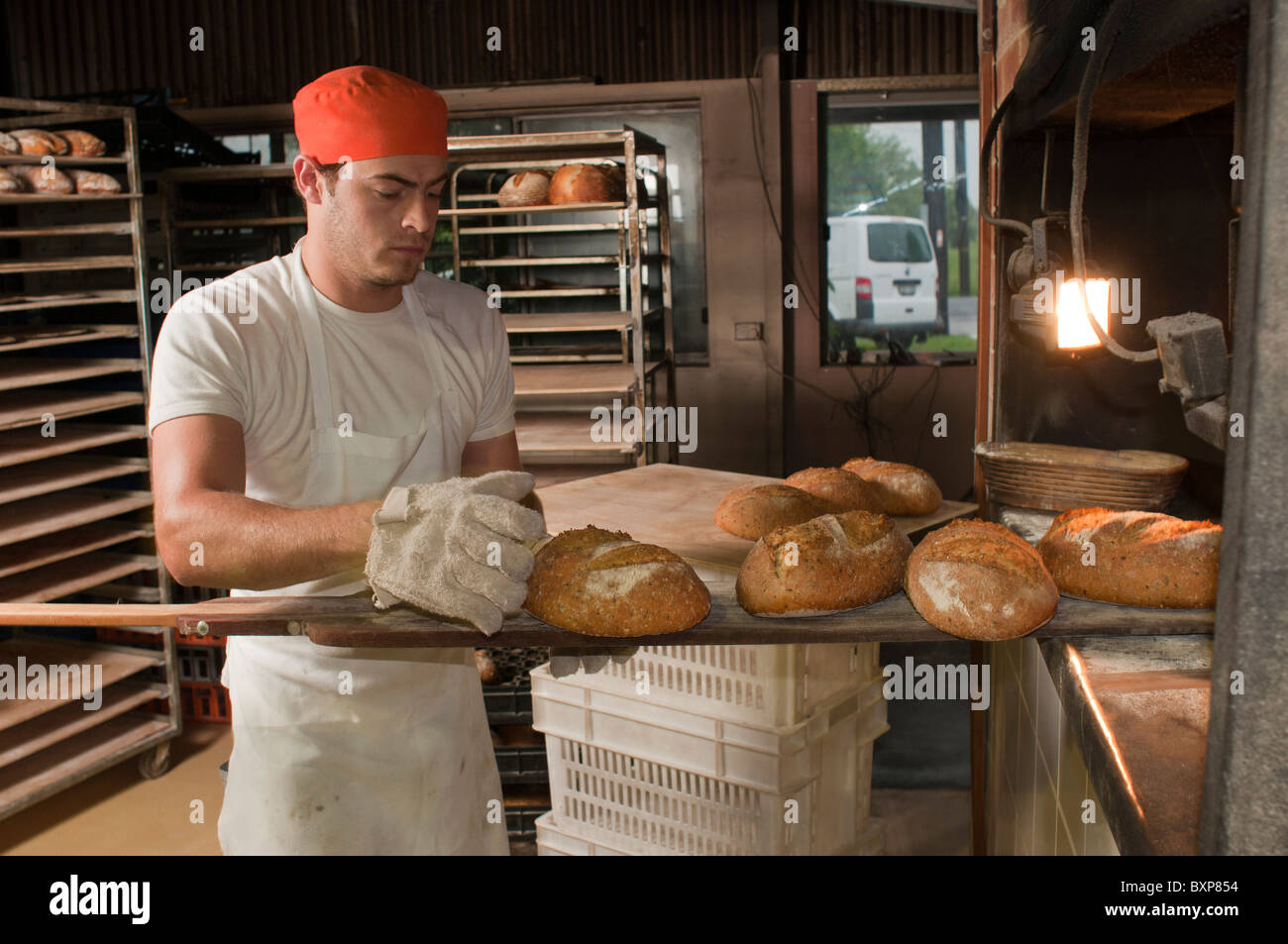 Artisan sourdough baker removing freshly baked bread from a woodfired oven - Stock Image